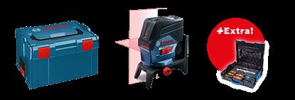 Снимка на GCL 2-50 C комбиниран лазер + RM 3 + L-щипка + BM 3 + RC 2 + Чантичка за съхранение + Мишена+ 12 V Батерия + Зарядно устройство в L-boxx+Бонус комплект Gedore