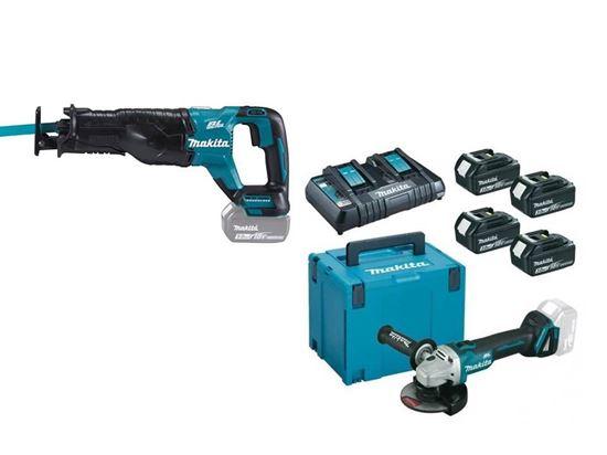 Снимка на Комплект акумулаторни инструменти Акумулаторна ножовка DJR187Z+Акумулаторен ъглошлайф DGA504Z+К-КТ MAKPAC BL1830B,3Ah x4 бр