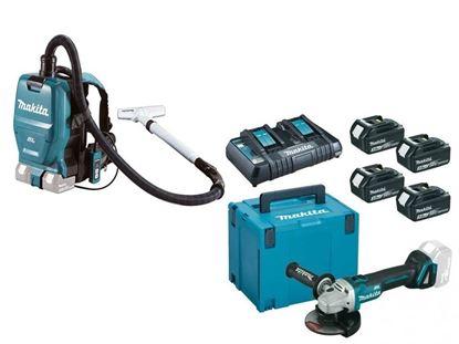 Снимка на Комплект акумулаторни инструменти Акумулаторна прахосмукачка за гръб DVC260Z ,18+18 V +Акумулаторен ъглошлайф DGA504Z+К-КТ MAKPAC BL1830B,3Ah x4 бр