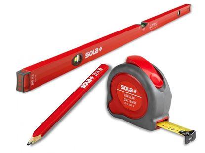 Снимка на Измервателен сет SOLA -Нивелир BigX3 100+Ролетка PP5м+ Дърводелски моливZB24