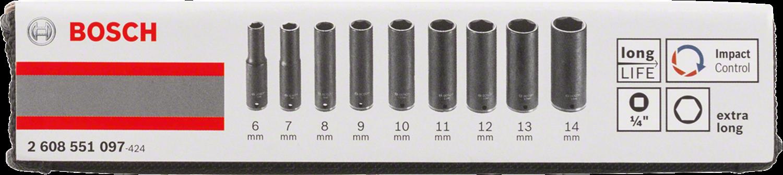 """Снимка на Комплект вложки за глух ключ, 9 части;1/4"""";50 mm; 6, 7, 8, 9, 10, 11, 12, 13, 14 mm;2608551097"""