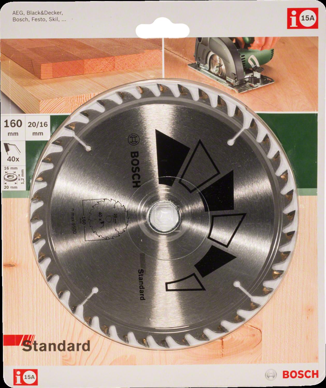 Снимка на  Диск за циркуляр STANDARD за Дърво;D= 160 mm; отвор= 20 mm; Z= 40;2609256811