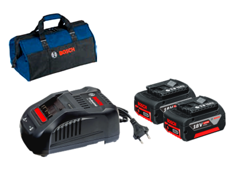 Снимка на Стартов комплет 2 х акум.батерии GBA 18V,5Ah+ зарядно у-во GAL 1880 CV+Подарък чанта за инструменти;0615990J27
