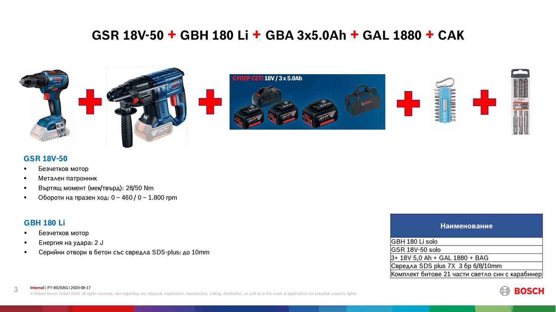 Снимка на ПРОМО!Акумулаторни инструменти BOSCH GSR 18V-50 +GBH 180 Li + GBA 3x5.0Ah +GAL 1880 +САК